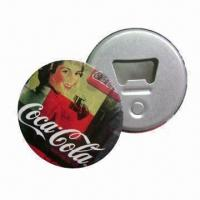 China Tin Button Bottle Openers with Magnet, Measures 58mm, Customized Logo Printing are Accepted wholesale