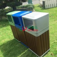 China WPC Outdoor Composite Trash Cans Grey Waterproof Fading Resistance 415 X 365 X 900mm wholesale