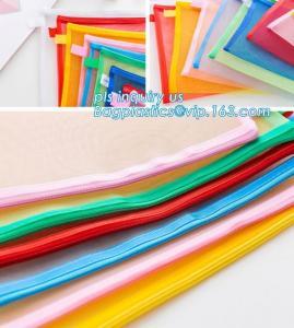 China Mesh Waterproof Zipper File Document Bag, canvas A4 file document mesh zipper bag, office filing mesh plastic mesh docum on sale