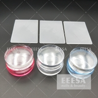 China Clear 3.5Cm With Stamping Plate Scraper Nail Polish Stamper Set wholesale