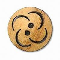 China 2 Holes Wooden Button with Laser design, Available in Various Sizes wholesale