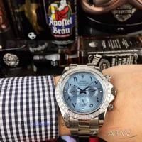 China Perfect Replica Rolex Daytona Stainless Steel Diamond Bezel Ice Blue Dial 43mm Watch on sale
