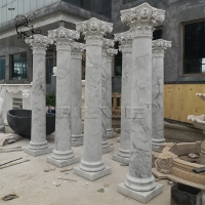 China Carrara Marble Column White Roman Pillar Natural Stone Garden Decoration wholesale