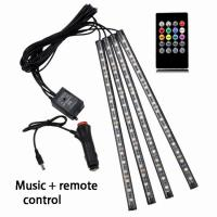 China 32CM Multicolor music+remote control Flexible Car LED Strip Lights Interior Decorative Atmosphere Lamp LED Wireless wholesale