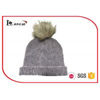 China two color ribbed mohair acrylic womens knitted beanie hats with