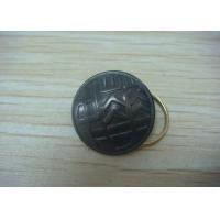 China Button Shape Promotional Keychain by Brass Stamping with Man - Woman Mould, Dyed Black Plating on sale
