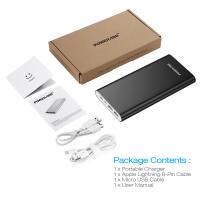Quality Charging Black 20000mah Usb Power Bank External Battery Pack With Lightning And Micro Input for sale