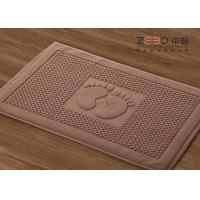 Quality 32S Yarn Brown Hotel Floor Towels Bath Mat Sets With Embossed Logo for sale