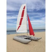 China White / Red Inflatable Sailing Catamaran 6.05sqm Mainsail 2.2m Width With Two Sails wholesale