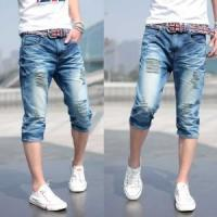 China 2018 fashion mens double waistband cropped denim jeans with skinny or fashion design wholesale