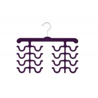China Fashion Design Double Four Racks Velvet Flocked Hangers For Tie Hanging wholesale