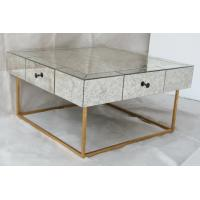 China Large Size Square Mirrored Coffee Table Antique Gold Leaves Finish wholesale