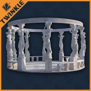 China White Customized Stone Garden Gazebo , Natural Marble Surface Polished wholesale
