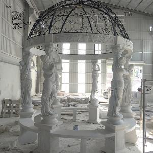 China Luxury Large Marble Garden Gazebo Stone Lady Relief Columns Pavilion wholesale