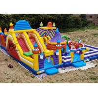 China Outdoor 20mL Yellow Rocket Inflatable Amusement Park For Kids Use Logo Printing on sale