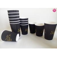 China Espresso Ripple Paper Cups Full Black Printed Coated , Insulated wholesale