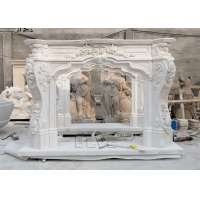 China Marble Fireplace Mantel Freestanding Stone Relief Fireplaces Indoor  Decorative European Style wholesale