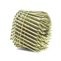 China Yellow Coated Galvanized Coil Nails Q235 Material For Wood Pallet 15 Degree wholesale