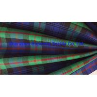 China Green Blue Plaid Yarn Dyed Elastic Stretch Fabric Polyester Twill / Drill for Men's Lady's uniforms wholesale