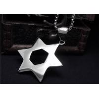 China Classic Stainless Steel Pendant Necklace Hollow Pentagram Necklace For Men wholesale