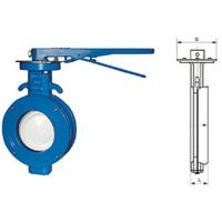 China WBLX single eccentric manual wafer soft seat butterfly valve dimension 200mm on sale
