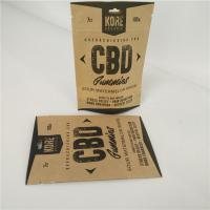 China Resealable Plastic Pouches Packaging CBD Eco Friendly Kraft Paper Bags Aluminum Foil Inside wholesale