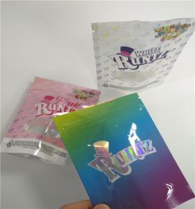 China Resealable Herbal Incense Packaging Aluminum Foil Zipper CBD Hologram RUNTZ Package wholesale