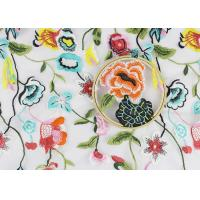 China Beautiful Flower Embroidered Net Lace Fabric , 3d Flower Lace Fabric 100% Polyester wholesale