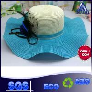 China Unisex Summer Straw Beach Hat With Nylon Strip Ribbon / Mesh Inside Fabric wholesale
