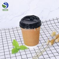 China Chain Coffee Shop Kraft Paper Cups 12Oz Double Wall Portable Non Leakage wholesale