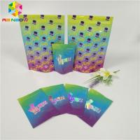 China Holographic Laser Film Foil Pouch Packaging Transparent Front Candy Gummy Runtz Bag wholesale