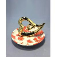 Buy cheap Shining Gold Porcelain Ring Holder With Heart Shape Printing Plate 13 X 13 X 10 Cm from wholesalers