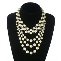 China Fashion 5 Layers Gold Chain Pearl Necklace Choker Beads Necklace Accessories on sale