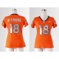 China NFL Broncos 18# Manning Women's Handwork Sequin lettering Fashion jersey wholesale