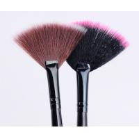 China Single Long handle Cosmetic Fan Brush , Professional Fan Brush wholesale