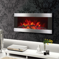China 36 INCHES WALL MOUNTED FIREPLACE HEATER EF820 PATENTED LED REAL FLAME WOODEN BURNING LOGSET EFFECT STAINLESS STEEL wholesale