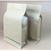 China Food Grade Biodegradable Square Bottom Side Gusset Coffee Tea Kraft Paper Pouch Mylar Bag With Tin Tie For Popcorn Packa on sale