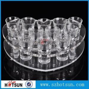 China acrylic beer tasting tray holder / acrylic tray cup holder / acrylic shot glass tray for bar wholesale