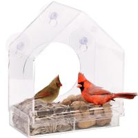 Quality Wholesale Large Window Bird Feeder - Free Detachable Tray Acrylic Plastic bird for sale