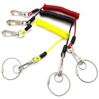 China Plastic Coated Coiled Wire Cable Carabiner Key Chain Lanyard Hight Tension Retractable on sale