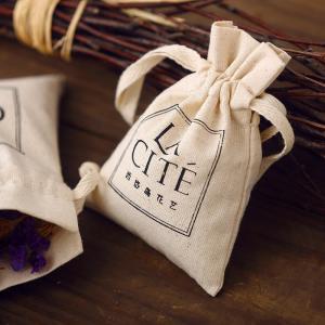 China Custom fabric cotton bag Muslin drawstring pouch personalize LOGO name tagline classificat wholesale
