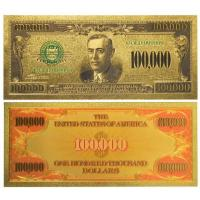 Quality Colored dollars 24k Gold Foil One Hunderd Thousand Paper Money for sale