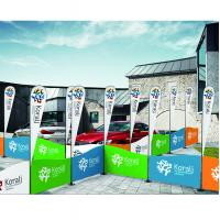 China Portable Type Fabric Trade Show Displays With Flag Carrying Bag Railing Shape wholesale