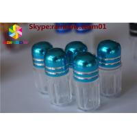 China sex pill bottle with ring cap/ capsule shaped container Capsule Pills Shape Bottle With Metal Cap, Plastic Container wholesale