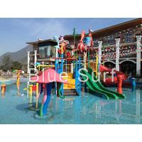 Red / Green Children Water Playground Equipment Spray Fiberglass Water Slide