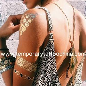 China Flash adhesive jewelry metallic water transfer temporary tattoos wholesale on sale