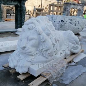 China Large Marble Sleeping Lion Statue Natural Stone Animal Garden Decor wholesale