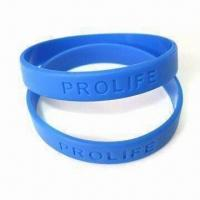 China Debossed Bracelet, Made of 100% Silicone, Logo Can be Customized by Printing or Embossing wholesale