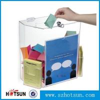 China Innovative Wall Mount Donation Box with Lock and Key, Clear Acrylic Charity Box Donation wholesale