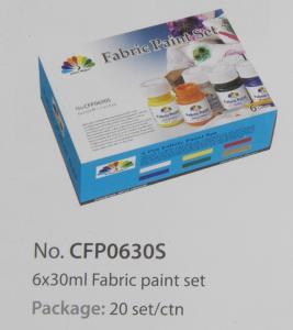 China Washable Art Painting Colours Fabric Paint Set For Kids 6 X 30ml 6 Colors Per Set wholesale